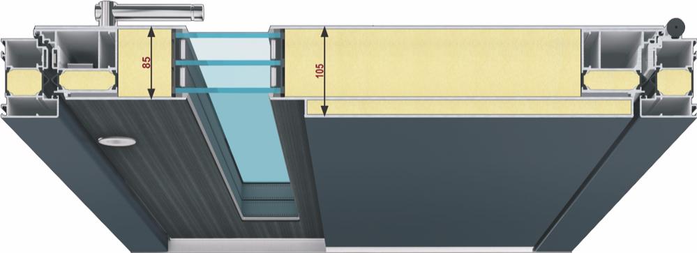 Inotherm Aluminium Haustüre flügelüberdeckend beidseitig
