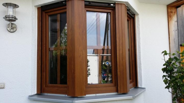 Kunststoff Fenster in Holzoptik Nussbaum nach dem Fensterwechsel