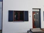Zierladen, anthrazit, Fenster mahagoni, Ehret